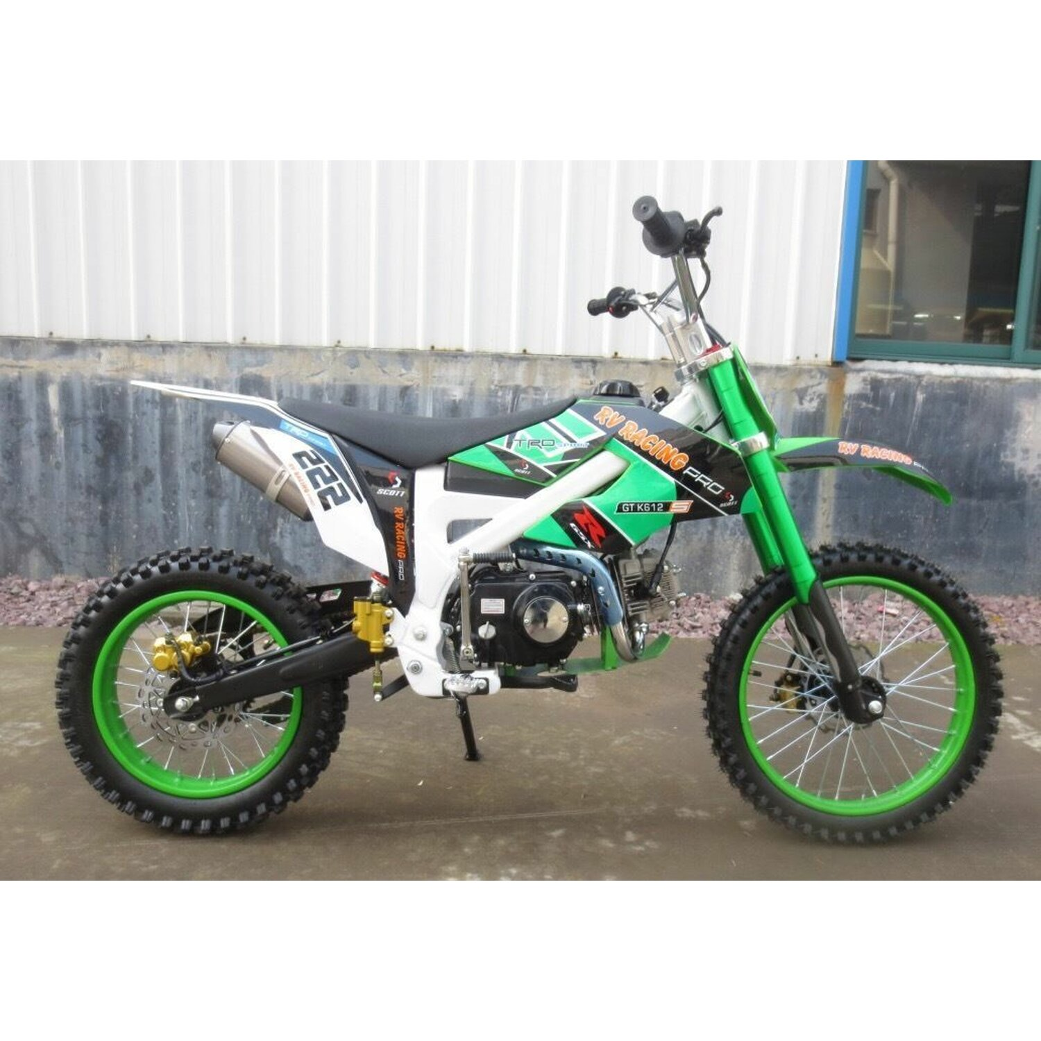 125ccm dirtbike pitbike 125cc 4takt 4 gang 17 14 zoll gr n. Black Bedroom Furniture Sets. Home Design Ideas